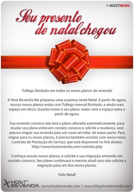 Feliz Natal com Tráfego Ilimitado em todos os planos de Revenda